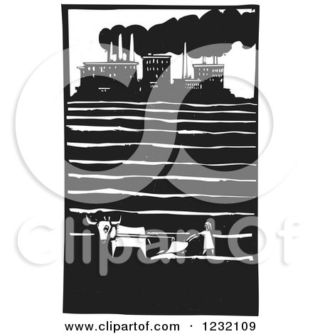 Clipart of a Woodcut Plowing Farmer near a Factory - Royalty Free Vector Illustration by xunantunich
