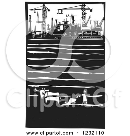 Clipart of a Woodcut Plowing Farmer near a Factory with Cranes - Royalty Free Vector Illustration by xunantunich