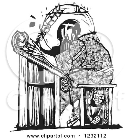 Clipart of a Woodcut Monk Scribe in Black and White - Royalty Free Vector Illustration by xunantunich
