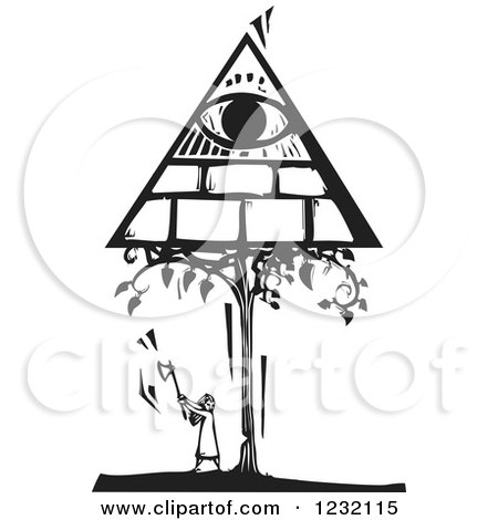 Clipart of a Woodcut Black and White Girl Chopping a Masonic Tree down - Royalty Free Vector Illustration by xunantunich