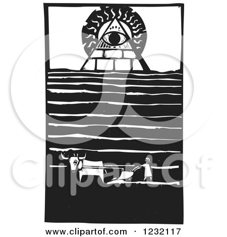 Clipart of a Woodcut Plowing Farmer near a Masonic Eye of Providence - Royalty Free Vector Illustration by xunantunich