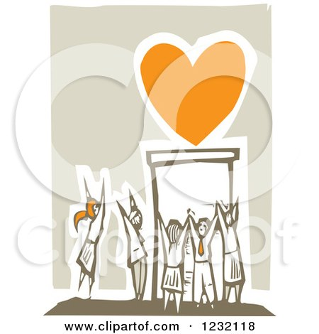 Clipart of a Woodcut Crowd Worshipping an Orange Heart - Royalty Free Vector Illustration by xunantunich