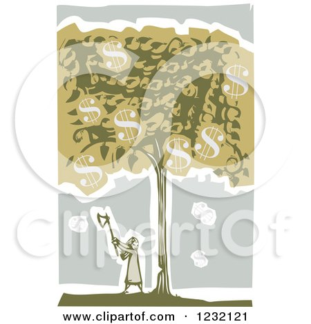 Clipart of a Woodcut Girl Chopping a Money Tree down - Royalty Free Vector Illustration by xunantunich