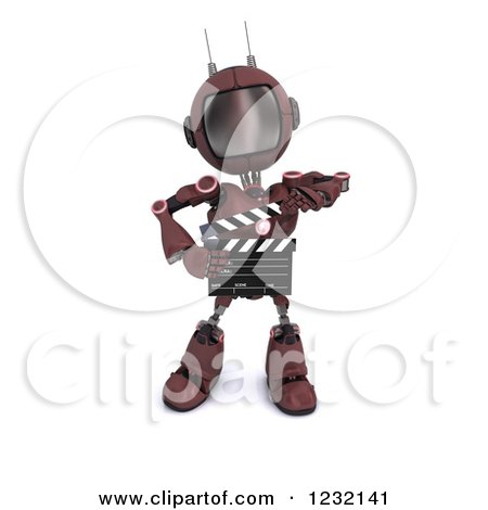 Clipart of a 3d Red Android Robot Holding a Movie Clapper Board - Royalty Free Illustration by KJ Pargeter
