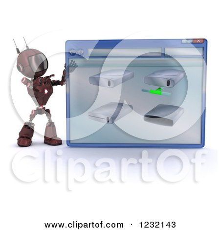 Clipart of a 3d Red Android Robot with Drives on a Computer Window - Royalty Free Illustration by KJ Pargeter