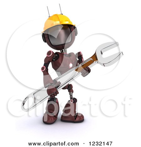 Clipart of a 3d Red Android Construction Robot with a Spanner Wrench 4 - Royalty Free Illustration by KJ Pargeter