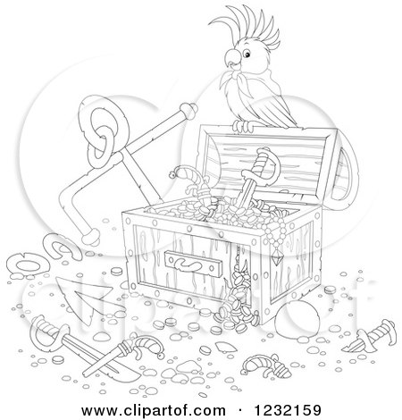 Clipart of an Outlined Pirate Parrot on a Treasure Chest ...