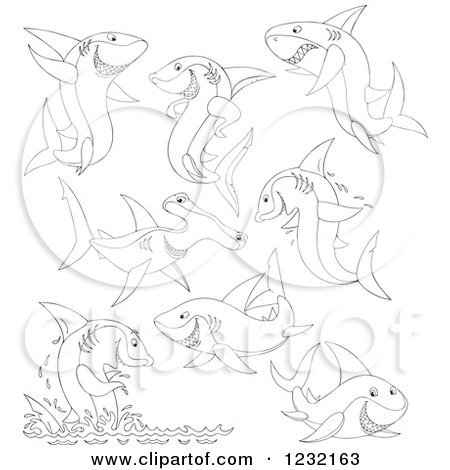 Clipart of Outlined Sharks - Royalty Free Vector Illustration by Alex Bannykh