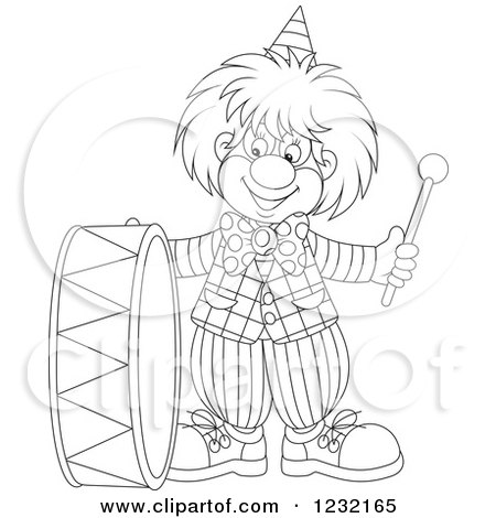 Clipart of an Outlined Clown Playing a Drum - Royalty Free Vector Illustration by Alex Bannykh