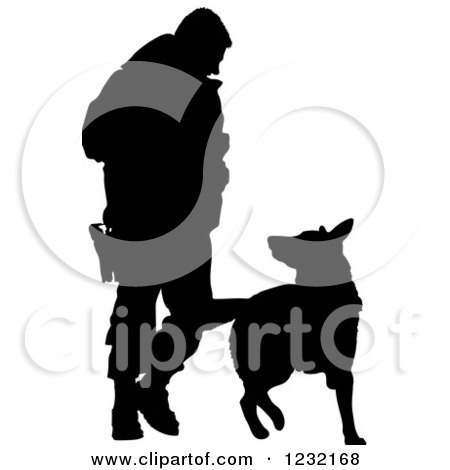 Clipart of a Silhouetted Police Officer and K9 German Shepherd Dog - Royalty Free Vector Illustration by Maria Bell