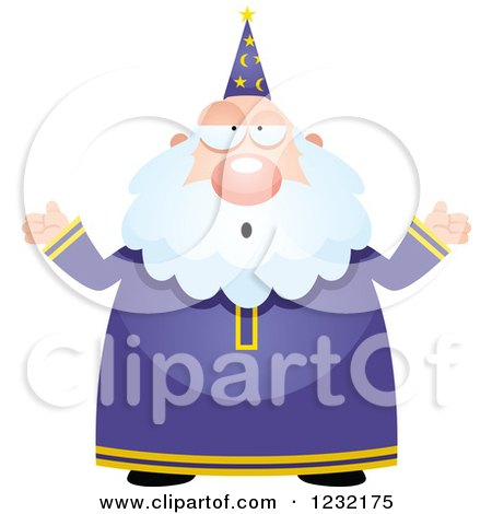 Clipart of a Careless Shrugging Male Wizard - Royalty Free Vector Illustration by Cory Thoman