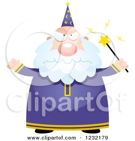 Clipart of a Mad Male Wizard - Royalty Free Vector Illustration by Cory Thoman
