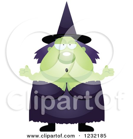 Clipart of a Careless Shrugging Green Witch - Royalty Free Vector Illustration by Cory Thoman