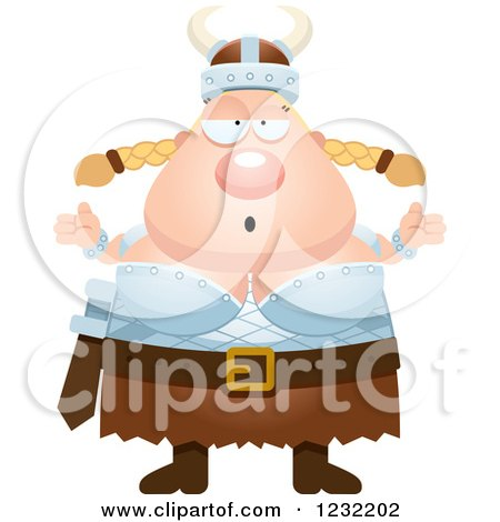 Clipart of a Careless Shrugging Blond Viking Woman - Royalty Free Vector Illustration by Cory Thoman
