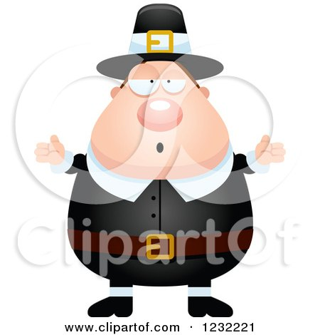 Clipart of a Careless Shrugging Male Thanksgiving Pilgrim - Royalty Free Vector Illustration by Cory Thoman