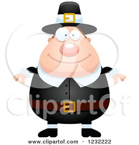 Clipart of a Happy Male Thanksgiving Pilgrim - Royalty Free Vector Illustration by Cory Thoman
