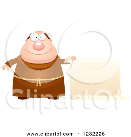 Clipart of a Happy Monk with a Scroll Sign - Royalty Free Vector Illustration by Cory Thoman