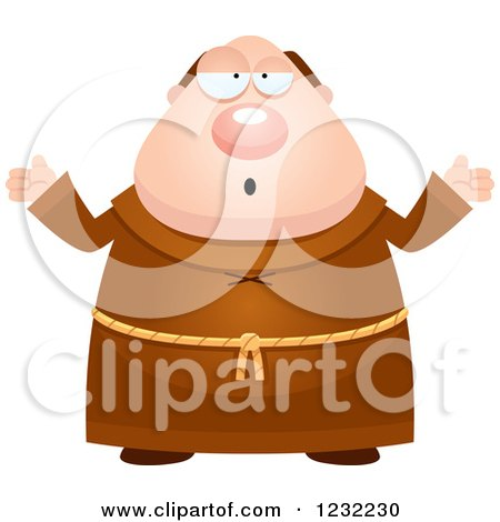 Clipart of a Careless Shrugging Monk - Royalty Free Vector Illustration by Cory Thoman