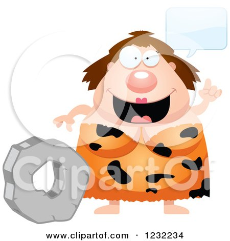 Clipart of a Smart Cavewoman Talking About the Wheel - Royalty Free Vector Illustration by Cory Thoman
