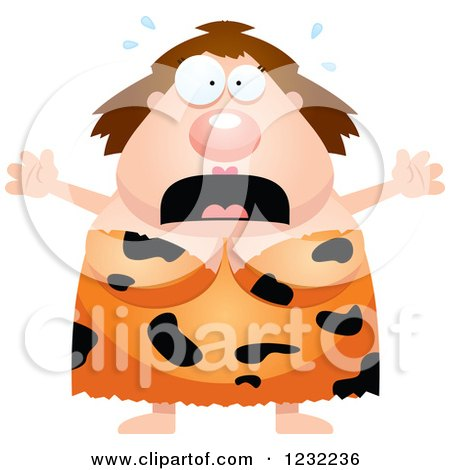 Clipart of a Scared Screaming Cavewoman - Royalty Free Vector Illustration by Cory Thoman