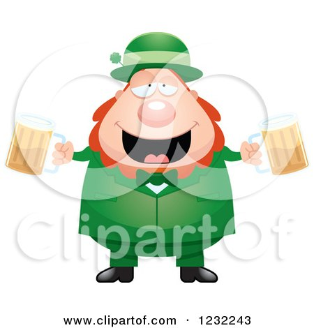 Clipart Of A Drunk St Patricks Day Leprechaun With Beer Royalty Free Vector Illustration