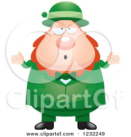 Clipart of a Careless Shrugging St Patricks Day Leprechaun - Royalty Free Vector Illustration by Cory Thoman