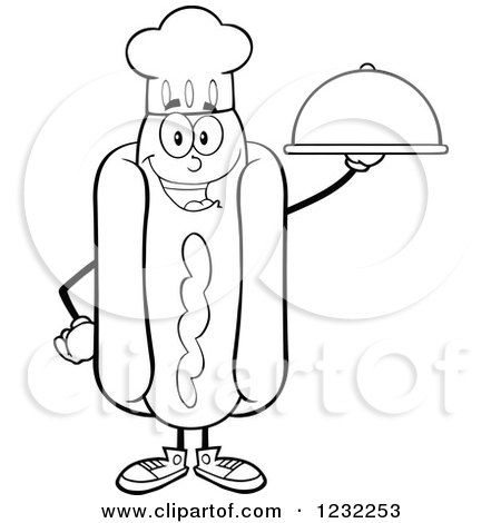 Clipart of a Black and White Chef Hot Dog Mascot with a Platter - Royalty Free Vector Illustration by Hit Toon