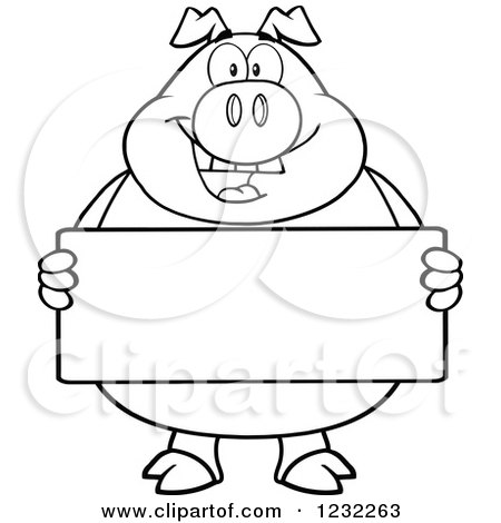 Clipart of a Black and White Happy Pig Holding a Sign ...