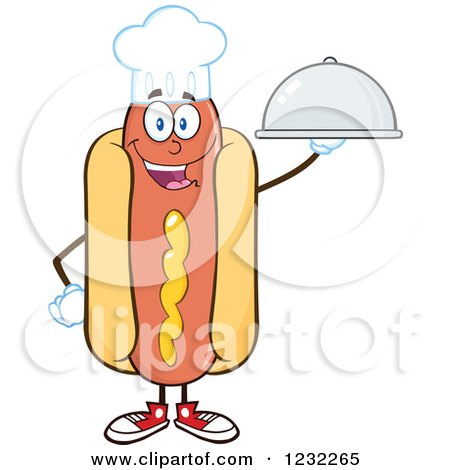 Clipart of a Chef Hot Dog Mascot with a Platter - Royalty Free Vector Illustration by Hit Toon