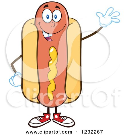 Clipart of a Waving Hot Dog Mascot - Royalty Free Vector Illustration by Hit Toon