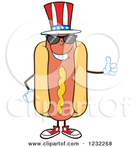 Clipart of an American Hot Dog Mascot with Shades and a Thumb up - Royalty Free Vector Illustration by Hit Toon