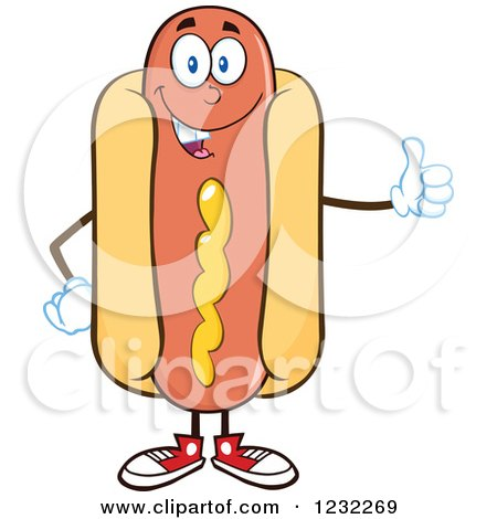 Clipart of a Hot Dog Mascot Holding a Thumb up - Royalty Free Vector Illustration by Hit Toon