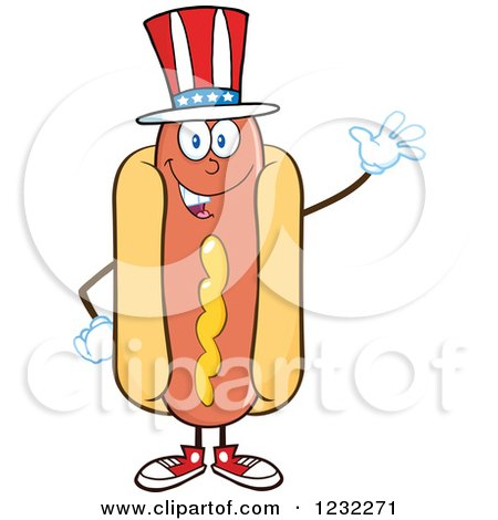 Clipart of a Waving American Hot Dog Mascot - Royalty Free Vector Illustration by Hit Toon