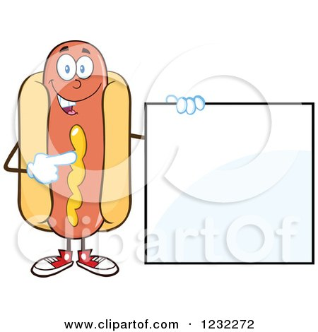 Clipart of a Hot Dog Mascot Pointing to a Sign - Royalty Free Vector Illustration by Hit Toon
