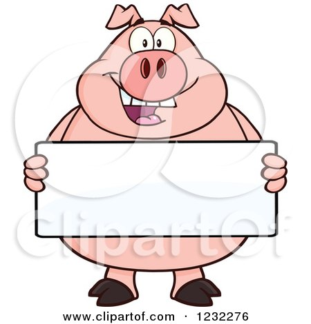 Clipart of a Happy Pig Holding a Sign Board - Royalty Free Vector Illustration by Hit Toon