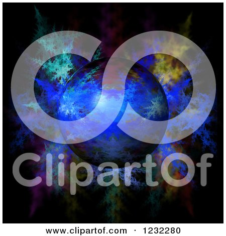 Clipart of a 3d Globe over Fractals - Royalty Free Illustration by oboy
