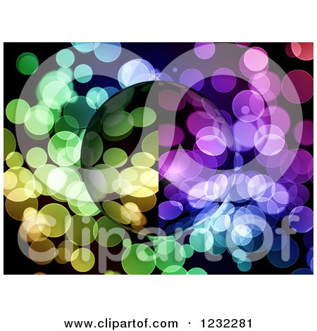 Clipart of a Globe over Colorful Dots - Royalty Free Illustration by oboy