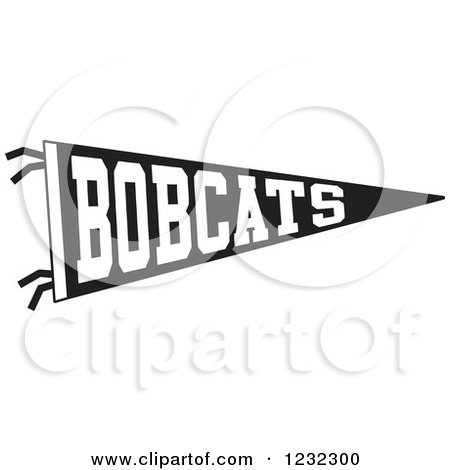 Clipart of a Black and White Bobcats Team Pennant Flag - Royalty Free Vector Illustration by Johnny Sajem
