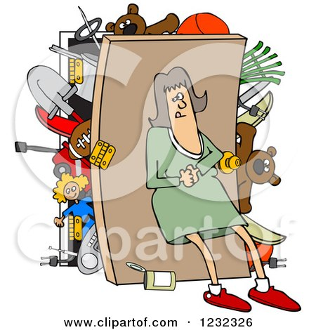 Clipart of a Caucasian Woman Pushing Her Back Against a Full Closet - Royalty Free Vector Illustration by djart