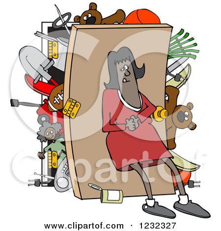 Clipart of an African American Woman Pushing Her Back Against a Full Closet - Royalty Free Vector Illustration by djart