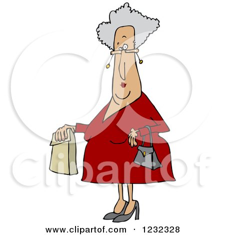 Clipart of a Senior Caucasian Woman with a Paper Bag - Royalty Free Vector Illustration by djart