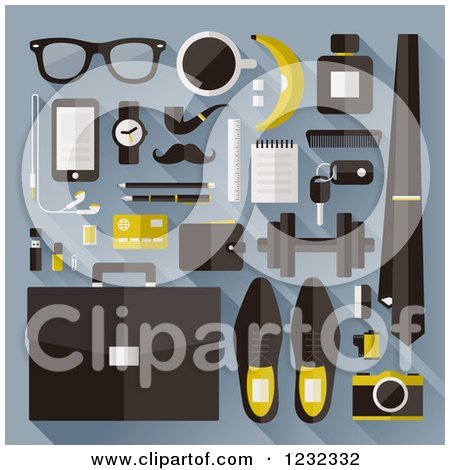 Clipart of Business Man Items Including Accessories and Tools, on Blue - Royalty Free Vector Illustration by elena