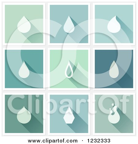 Clipart of Water Drops and Shadows on Different Tiles - Royalty Free Vector Illustration by elena