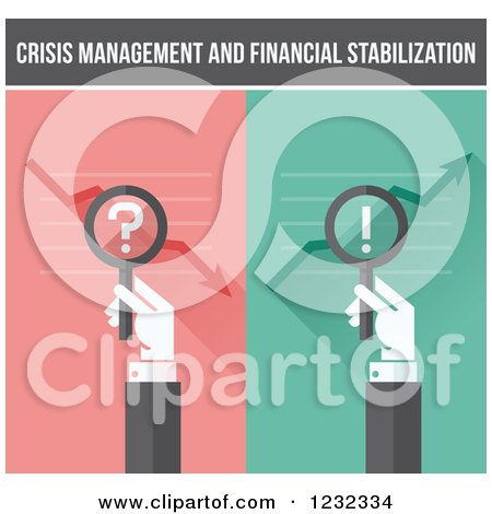 Clipart of Crisis Management and Financial Stabilization Hands with Magnifying Glasses - Royalty Free Vector Illustration by elena