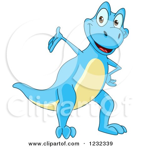 Clipart of a Cute Blue and Yellow Dinosaur Presenting - Royalty Free Vector Illustration by yayayoyo