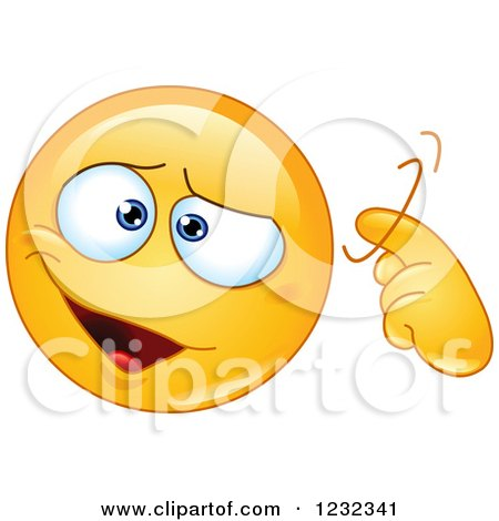 Clipart of a Yellow Emoticon Gesturing Craziness or a Screw Loose - Royalty Free Vector Illustration by yayayoyo