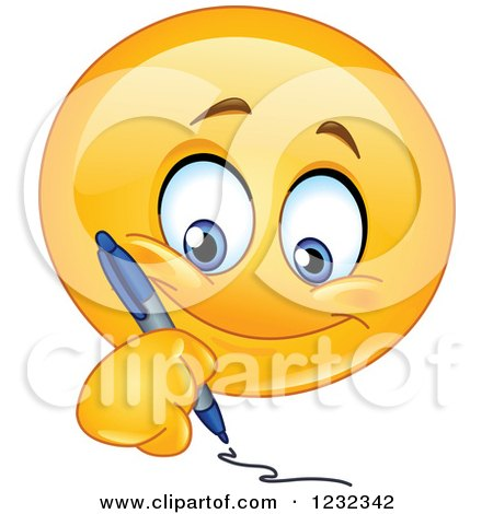Writing Smiley Face Clipart of a Yellow Em...
