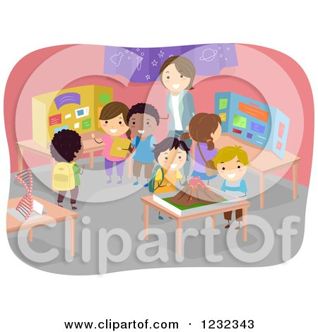 Clipart of a Teacher and Diverse Students at a School Science Fair - Royalty Free Vector Illustration by BNP Design Studio