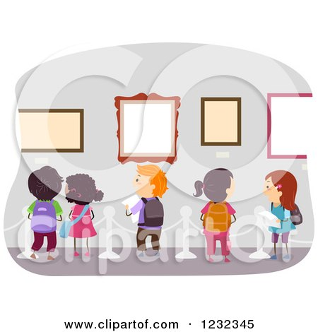 Clipart of Diverse School Kids on an Art Museum Field Trip - Royalty Free Vector Illustration by BNP Design Studio