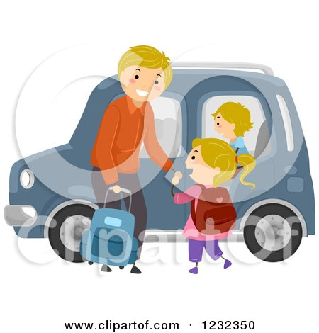 Clipart of a Happy Father Ready to Drive His Children to School - Royalty Free Vector Illustration by BNP Design Studio